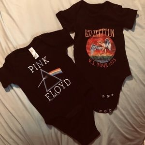 Led Zeppelin and Pink Floyd onesies